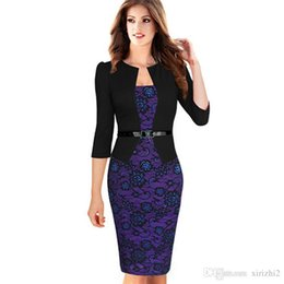 Manchette Pas Cher-2017 Autumn New Bodycon Dress Purple Lace 3/4 Sleeved Fake Deux pièces Puff Sleeve Leopard Print One Piece Pencil Dress