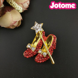 brooch shoe Australia - 50pcs lot Gold Tone Crystal Dorothy Wizard Of Oz Style Red Shoes brooch , Bow and Star Lapel Pin