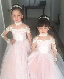 $enCountryForm.capitalKeyWord NZ - Princess Vintage Lace Flower Girl Dresses for Wedding Illusion Long Sleeve High Neck 2018 New Blush Pink Kids Party Wear BA6837