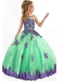 Robes De Demoiselle D'honneur Orange Pas Cher-Étincelant Beading Crystals Robe de bal Little Girls Children Robe de bal pour fête Birthday Floor Length Green Junior Robes de demoiselle d'honneur