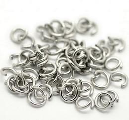 vente en gros en acier inoxydable anneau de saut ouvert anneau fendu anneau 5x1mm / 6 * 1mm / 7 * 1mm / 8 * 1mm bijoux trouver argent poli mode DIY BLING en Solde