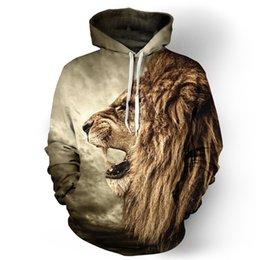 Sweat À Capuche Cool Pour Homme Pas Cher-Gros-2016 Nouveau Automne / Hiver Hommes / Femmes Sweat À Capuche Cool Lion Animal 3D Sweat À Capuche Hip Hop Pull Homme Vêtements Tops