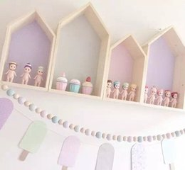 wholesale doll houses NZ - 2pcs Set Kids Wall Wood Dollhouses Baby Room Decoration Doll Houses Storage Rack Nordic Style Children Room Decor 6Colors