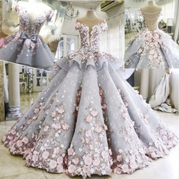 illusion back cathedral train wedding dress 2020 - Fairy 3D-Floral Appliques Wedding Gowns Charming See Through Back Organza Bridal Dress 2017Fashion Custom Made Cathedral