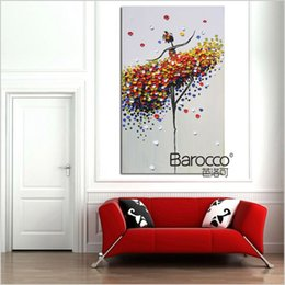 dancer wall art 2019 - Ballet dancer abstract oil painting poure hand painted figures oil painting on canvas modern home wall art decoration gi