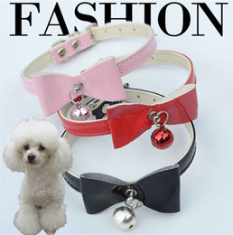 $enCountryForm.capitalKeyWord Canada - Dogs Cat collar Bowknot bell PU Leather Dog Puppy Pet Collars Necklace Collars