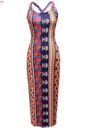Barato Senhoras Vestidos Maxi Backless-Sexy Dress Women Off Shoulder Cross Backless Bodycon Vestidos Senhoras Vestuário Geometria Floral Print Vintage Pencil Maxi Long Dress SV030321
