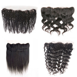 Wholesale 4x13 lace frontal unprocessed virgin brazilian human hair free middle part straight body deep wave jerry kinky curly