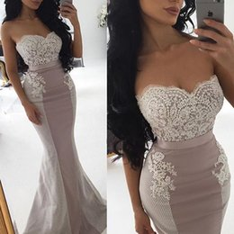 Barato Vestidos De Treino Para Baile-2017 Sexy Mermaid Evening Dresses Sweetheart Sequins Beaded Appliqued Lace Tulle Satin Long Backless Prom Dresses Formal Gowns Sweep Train