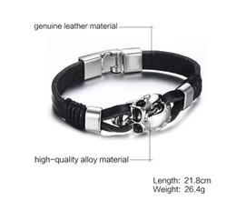 $enCountryForm.capitalKeyWord NZ - Punk Rock Mens Black Durable Leather Bracelets Gothic Skull Cuff Bangle Stainless Steel Skeleton Pulseiras Masculinas