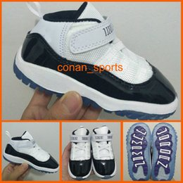Chaussures Bebe Bleue Pas Cher-Cute Baby Retro 11 Space Jam Sneakers Chaussures pour enfants Baby Boys Girls Athletic Shoes Gamma Blue Black White