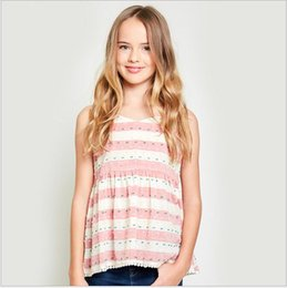 Barato Tanques Atados-2017 Teenage Floral Lace Tank Tops Big Baby Girl Fashion Striped Vests Junior Summer Jumper Tees Vestuário infantil