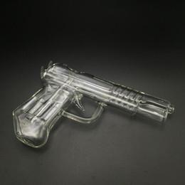 Water hookah pipe pen online shopping - 3 Colors Pistol Glass Water Pipes Gun Smoking Pipe Glass Bong Hookah Wax Pen for Dry Herb Vaporizer