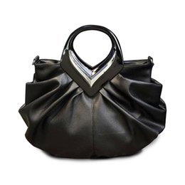 China Wholesale- Large Designer High Quality Luxury Women Leather Handbags Ladies Hand Bags Fashion Black Pleated Tote Bag Purses Messenger Bags cheap messenger bag style purse suppliers