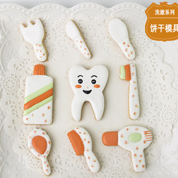 Pastry Cutters Australia - 9pcs Knife Fork Toothbrush Toothpaste patisserie reposteria Molds Metal Cookie Cutter Fondant Cake Decorating Biscuit Pastry Chocolate Mould
