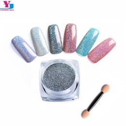 Discount holographic glitter nail art - Wholesale- 3 Bottle Holographic Nail Glitter Powder Shinning Laser Mermaid Effect Chrome Pigment Magic Nail Art Tips Man
