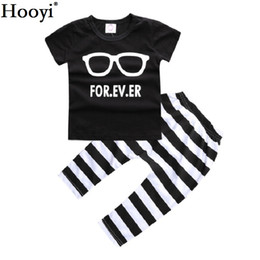 Chinese  Hooyi Black White Baby Boy Clothes Set Short Sleeve T-Shirt Stripe Pant 100% Cotton 70 80 90 100 Toddler Clothing Suit Glass For Ever Outfit manufacturers