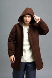 mens padded coats 2019 - Wholesale- New Winter Mens Parka Coat Men Chinese Style Retro Cotton Padded Linen Thick Jacket Coat Hooded High Quality
