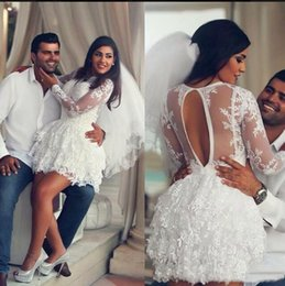 $enCountryForm.capitalKeyWord NZ - 2017 A Line Wedding Dress Sheer Tulle Long Sleeves Crew Neck Lace Applique Short Mini 2017 Bridal Gown