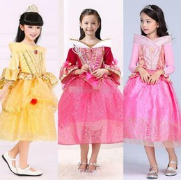 wholesale aurora princess dresses Canada - Princess Dress Princess Aurora Long Sleeve Dress Girls 3 Color Lace Party Birthday Dresses Halloween Xmas Gift A08