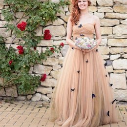 $enCountryForm.capitalKeyWord Canada - Romantic Butterfly Wedding Dresses Sweetheart Pleated Champgane Tulle A Line Floor Length Elegant Bridal Gowns Custom Size
