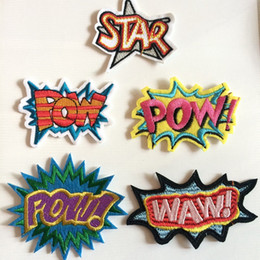 Wholesale fabrics embroidered for clothes resale online - Fabric Star Decorative Letters Embroidered Clothes Patches Waw Sew On Iron On Letters Patch Clothing Applique For Jackets Jeans