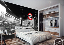 White 3d Rose Fabric NZ - New Custom 3D Beautiful Black and white London street view photography photography background wall