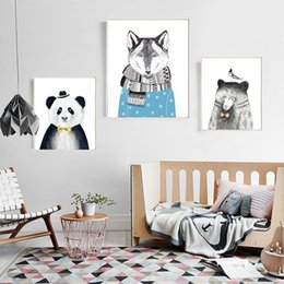 Canvas Print Pieces Australia - 3 Piece Triptych Watercolor Nordic Animal Lion Bear Panda Art Prints Poster Hipster Wall Picture Canvas Painting Kids Room Home Decor