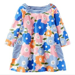 Barato Impressões Florais Ocidentais-Everweekend Sweet Kids Girls Western Cotton Print Flowers Stripe Dress Lovely Cute Printed Princesa Autumn New Dress