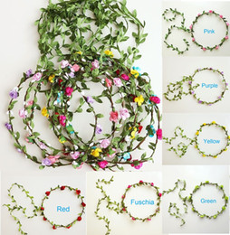 Discount hair ribbons flowers small - artificial garland small flowers garlands bridal hair accessories bridal headbands wedding headdress for bride dress hea