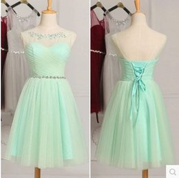 Robe Formelle Blanche Juniors Pas Cher-Mint Green White Robes de demoiselle d'honneur Country Style Short Lace Robe formelle pour Junior Bridesmaids Scoop Neck Wedding Party Dress