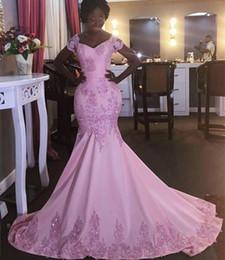$enCountryForm.capitalKeyWord Australia - Vintage Pink Off the Shoulder Prom Dresses 2020 Short Sleeve Lace Appliqued Sequins Mermaid Evening Gowns Arabic Long Sweep Train