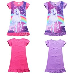 Pantalones Cortos Sueltos Baratos-Summer Girl Dress Unicornio Cartoon Pijamas Baby Kids Nightwear Cute manga corta Falbala vestido ropa de dormir ropa suelta