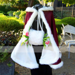 Blue Cotton Cloak Australia - 2017 Bridal Cape Stunning Warm Wedding Cloaks Hooded with Faux Fur Trim Ankle Length Jacket Perfect for Winter Long Wraps Fall