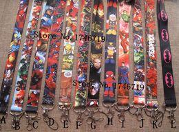 Superhero Keychains Canada - Wholesale Popular Cartoon Superhero Lanyards Keychain ID Badge Holder u-37