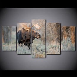 5 Pcs Set Framed HD Printed Deer Animal Landscape Wall Canvas Print Poster  Asian Modern Art Oil Paintings Pictures Inexpensive Asian Wall Art Panels