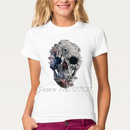 Barato Camisas Retro Crânio-Venda por atacado - New Arrival Women's Retro Skull Floral Printed T-Shirt Summer Fashion Novelty Custom T Shirt High-quality Harajuku Tee Tops