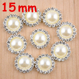 flat back buttons Canada - Wholesale 60pcs lot 15mm Flat Back Round Rhinestone Peal Button For Hair Flower headband accessories free shipping PJ02