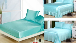 $enCountryForm.capitalKeyWord Canada - 4PCS Aqua Blue Silk Sheets Bedding set Satin Flat Fitted bed Sheet bedspread linen California King Queen size full twin 20 color