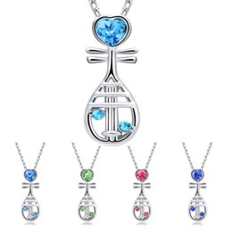 $enCountryForm.capitalKeyWord Canada - Chinese Musical Instrument Crystal Heart Pipa Necklace Silver Chain Crystal Diamond Pendant Fashion Jewelry Gift for Women Kids 162334