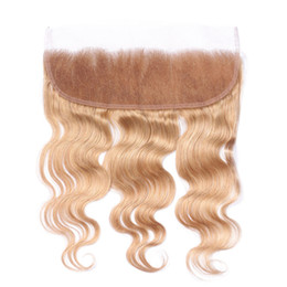 $enCountryForm.capitalKeyWord UK - 10A Russian Blonde Human Hair 13x4 Lace Frontal Closure With Baby Hair #27 Honey Blonde Body Wave Full Frontal Lace Closure Free Part