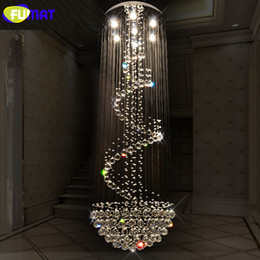 hotel lobby chandeliers 2019 - FUMAT K9 Crystal Chandeliers Modern Spiral Suspension Lightings LED Hotel Villa Lobby Luxury LED Crystal Lustre Living R