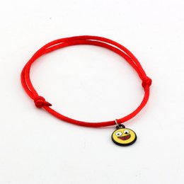 men luck bracelet 2018 - MIC 100 pcs New men and women fashions Yellow Enamel expression laugh face Charms Red String Good Luck Adjustable Bracel