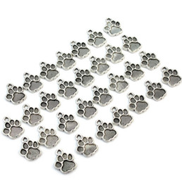wholesale paw print Australia - 200pcs lot Antique Silver Plated Zinc Alloy Paw Print Charms Pendants Metal for Jewelry Findings DIY 15x12 mm