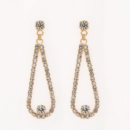 Wholesale Simple Design Long Earrings for Women Plated Bridal Rhinestone Transparent with the object type Drop Earrings for women E303