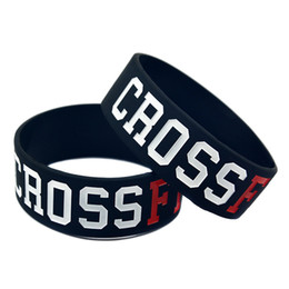 50PCS Adult Size Black and White 1 Inch Wide CrossFit Silicone Rubber Bracelet For Sport Promotional Gift on Sale