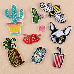 wholesale bee stickers 2021 - Iron On Patches DIY Embroidered Patch sticker For Clothing clothes Fabric Badges Sewing dog cup bee popular design
