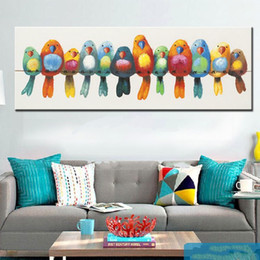 Discount funny hand art Framed Funny Pure Hand Painted Modern Abstract Art Oil Painting Lovely Colorful Birds,Home Decor On High Quality Canvas