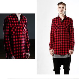 $enCountryForm.capitalKeyWord Canada - Tide Brand Hip hop Mens Dress Shirt Plaid Shirts Long Sleeve Men Shirts Man extended Red&Black Plaid Shirt Man camisa masculina