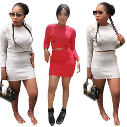 $enCountryForm.capitalKeyWord Canada - Hole Sweater Dress Sets Women Autumn Knitted Cocktail Suit Set Skirt Evening Dress Hollow Out Long Sleeve Tops 20pcs OOA3101